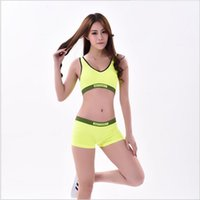 Wholesale Ladies Gym Wear Wholesale - new style quick dry stretch lady sport bras and panty yogawear underwear set Gym Clothing exercise wear