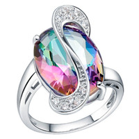 Wholesale natural mystic - 925 Sterling Silver 18K plated Queen Fancy Natural Mystic Topaz Gemstone Jewelry Austrian Crystal Rhinestones Zircon Wedding Ring for lover