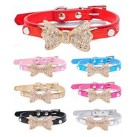 Hot Rhinestone Dogs PU Leather Collar Pets DIY Charm Necklace com Color Bow Diamond Frete Grátis