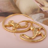 içi boş halka küpeler toptan satış-Marka adı Küpe hoop 4.6 cm lüks 18 K Altın kaplama hollow Küpe Kadınlar Marka takı Ücretsiz kargo PS6628