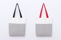 Wholesale Canvas Bag Wholesalers - Promotion fashion With Stripe Shopping Tote Cotton Canvas Bag Stripe canvas beach bag tote bag wholesale