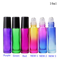 Wholesale Rainbow Rolls - 2018 New Popular !!! 10ML Colorful Glass Roll On Bottles Thick 10ml Rainbow Glass Roller Bottles for Essence Oil with SS Roller and Black Ca