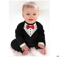 Wholesale Boys Christmas Bow Tie - Fashion Baby Boys Romper 2016 New Autumn Gentleman Long Sleeve Cotton Infant Onesie Bow Tie Toddler Jumpsuit CX338