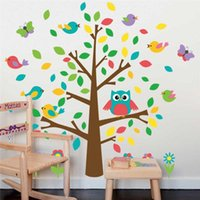 Wholesale Owl Decorations For Baby Nursery - 100pcs ZY1018 cute owls birds tree wall stickers kids playroom decoration nursery cartoon children baby home decals 1015 animal mural art