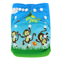 Wholesale High Baby Digital - 10 Pack One Size Adjustable Baby Cloth Diaper Cartoon Digital Printed Baby Pocket Diapers Reusable Nappies High Quality Diapering