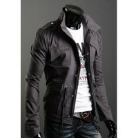 Wholesale Men S Leisure Outfits - Wholesale- Qiu dong outfit man collar jacket Cultivate one's morality men's jacket Leisure coat, M - 4 xl