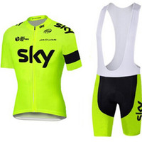 Wholesale Sky Cycling Green - 2016 fluor yellow Sky Cycling Jerseys Quick Dry Bike Wear 100% polyester team sky jersey Short sleeve cycling shirts BICYCLING Maillot Culot