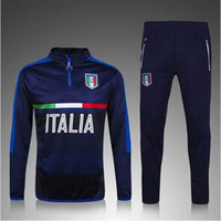 Wholesale Shinny Suits - 2016 Survetement football Italy tracksuit italia training suit kits Soccer Chandal italian training shinny tight pants sweater shirt
