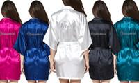 Wholesale Bridesmaid Rhinestone Shirts - 2017 Satin Silk Women's Bridal Short Kimono Robe Bridesmaid Rhinestone Wedding Robe Dressing Gown 7 colors