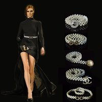 Wholesale Wedding Dress Pearl Waist Belt - Belly Chains Waist Belt Ladies Woven Metal Pearl Chain Dress Adornment Belt Elastic Pearl Dress Belt Chain For Wedding Bridal Bridesmaid