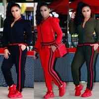 Wholesale womens piece tracksuits - Womens Casual Fashion Autumn Long Sleeved Two-piece Jogger Set Ladies Fall Tracksuit Sweat Suits