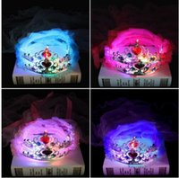 Wholesale Headband Veil Princess - Kids Girls Princess LED Flashing Crown Lace Flower Headband Hairband Veil Birthday Glow Party Supplies Light-Up flower crown KKA2689