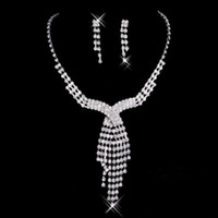 Wholesale Romantic Stainless - 2017 Rhinestone Jewelry Necklace Earring Set Real Image Ear Stud type Lobster clasp Prom Wedding Bridal Earrings Necklace
