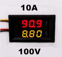 voltmetre kabloları toptan satış-Toptan-DC 0-100 V 0-10A araba Voltmetre Ampermetre tester Panel LED Çift Ekran beş teller Akım Gerilim Monitör Volt Amp metre