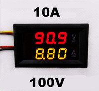 Wholesale Dual Display Volt - Wholesale-DC 0-100V 0-10A car Voltmeter Ammeter tester Panel LED Dual Display five wires Current Voltage Monitor Volt Amp meter