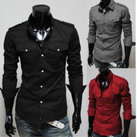 Wholesale Shirt Epaulets - [Special] foreign trade fashion epaulets double pocket design Mens slim long sleeved shirt 5842