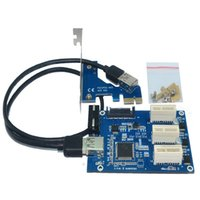 Wholesale Pcie Port Usb Cards - Pci-e express 1x to 3 port Riser Card Mini ITX to external 3 PCI-E slot adapter PCIe Port Multiplier PCIE Express Card