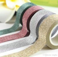 dekoratif kendinden yapışkanlı toptan satış-Toptan 5 M Glitter Washi Bant Yapışkan DIY Craft Dekoratif H210464 Üzerinde Kağıt Yapışkanlı Sopa