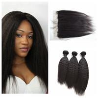 brezilya yaki saç uzantıları toptan satış-Brezilyalı Sapıkça Düz Saç 13x4 Dantel Frontal Kapatma Ile 3 Demetleri Kaba Yaki İnsan Saç Uzantıları G-EASY