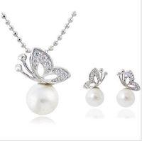 Wholesale Wholesale Pearl Necklace Butterfly Earrings - Fashion Full Rhinestone Butterfly imitation pearl romantic Earrings Necklace Jewelry Sets Wholesale For Women C33