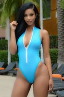 Wholesale Thong Bikini Swimsuits - Maillot De Bain Une Piece Push Up High Neck Swim Front Zipper Swimsuit Thong Monokini Swimsuits Sexy Plus Size Girls Bikinis