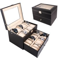 Wholesale Black Leather Jewelry Displays - 20 Slot Watch BoxTop Glass Jewelry Storage Black Leather Display Case Organizer
