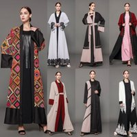 Wholesale Muslim Long Sleeve Maxi Dress - Newest Style Abayas Coat Long Sleeves 2018 Fashion Arabic Dubai Muslim Middle East Abaya Kaftan Long Party Evening Overskirts
