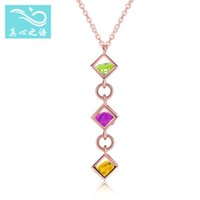 Wholesale European Green Cube - European and American fashion Rose gold plated S925 Sterling silver Natural Crystal Rubik's Cube necklace Pendant