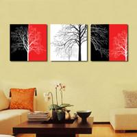 yağlıboya renk ağacı toptan satış-Ev dekorasyon çerçevesiz 3 Parça sanat resim ücretsiz kargo Tuval Baskılar Soyut renk yağlıboya solmuş ağacı Karikatür saksı çiçek