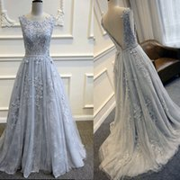 Wholesale Celebrity Inspired Dresses Elie Saab - 2016 Elie Saab Light Sky Blue Formal Celebrity Evening Dresses Sexy Open Back Lace Appliques Sash Long Prom Party Gowns Occasion Party Wears