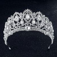 Wholesale Wedding Royal Veils Crystals - Luxury Shining Bridal Tiaras Royal Wedding Rhinestones Crown Jewelry Hair Accessories Baroque Veil Tiara Headband Crowns Hot Sale