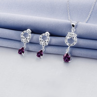 Wholesale Discount Jewelry China - Wholesale fashion Hollow design 925 silver necklace earring jewelry sets; discount sterling silver blue gemstone set wedding GTFS094A