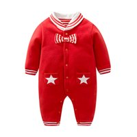 Wholesale Tie Newborn Rompers - Christmas Baby rompers Baby boys Cotton stripe bow tie jumpsuit cute Infants stars double pockets long sleeve rompers Newborn clothes C1764