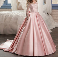 Wholesale Old Beaded Dresses - Sparkle Christmas Flower Girl Dress Floor Length Button Bow Satin Beaded Pink Long Sleeves Tulle Ball Gowns for Kids Glitz 2-14 Old 2017 New