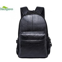 Wholesale Korean Book Bags - Wholesale-2016 Korean Style Men Backpack Top Quality Leather Double Shoulder Bags School Bag Book Rucksack for male outstoor tote DL0027