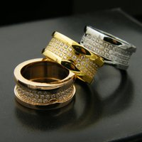 Wholesale banded gear - Gear Titanium Stainless Steel 3 Rows Rhinestone Rings,18K Gold Rose Gold Platinum Plated Women Men Wedding Band Luxury Jewelry