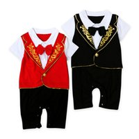 Wholesale Jumpsuits For Spring Sleeves - Newborn Baby Boy Kid Casual Rompers Gentleman Pants Climb Clothes Sets Baby Clothing for Boys Jumpsuit Kids One Piece Romper