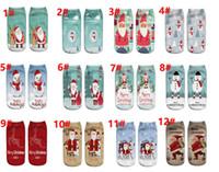 Wholesale Ladies Christmas Socks - 12 color Christmas Stockings 3D prints ladies boats socks Single-sided printing Santa Claus series facial socks