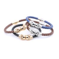 Wholesale Leather Slide Charm Bracelet - 2016 Fashion Vintage Design Northskull Genuine Leather Twin Skull Bracelets Bangles for Man Women Jewelry Gift