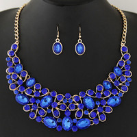 Wholesale Blue Collares - Collier Femme Choker Statement Bridal Jewelry Sets Crystal African Jewelry Set Circle Collares Round Necklaces & Earrings Set