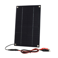 Wholesale Solar 18v - 2pcs lot 6W 18V Semi-Flexible Solar Panel DC Female Output Solar Cell with Alligator Clip for Battery Charging and Solar System Test