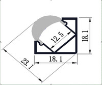 Cheap corner led profile - 2M PCS 100M LOT FREE SHIPPING HIGH QUALITY 2000MMX18MMX18MM ALUMINUM PROFILE CORNER COLOUR MATT WITH TRANSPARENT GLASS FOR LED STRIP