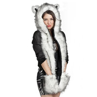 Wholesale Faux Fur Sets - Wholesale-2015 Warm Winter Faux Animal Fur Hat Fluffy Scarf Shawl Glove Plush Cap Gloves Hats 20% OFF Xmas a2