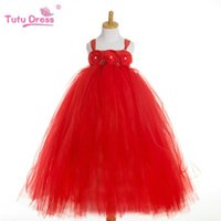 Wholesale Evening Pageant Dresses For Kids - Flower Girl Evening Gowns Pageant Dresses for Little Girls Children Tutu Dress for Wedding Kids Clothing