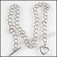 3pcs / lot 9mm Width Iron Heart Lobster Clip Rhodhium Plated Link Chain Necklace Fit Lpbster Clasp Европейское ожерелье 45cm 220083