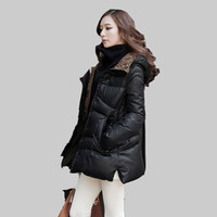 Wholesale Skirt Woman Fashion Korea - Wholesale-Plus Size Woman Clothing Korea Style Fashion Ladies Vintage Winter Jacket Women Hoodies Warm Long Duck Down Coat Parka YB732