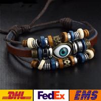 Wholesale Men Bracelete - Bracelets Evil Eye Handmade Multilayer Bead Genuine Leather Bangle Women Men Punk Retro Adjustable Beaded Bracelete Halloween XMAS WX-B09