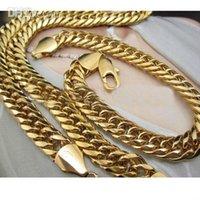 ingrosso set di catene mens-L'oro giallo 18k ha riempito il set di gioielli del braccialetto di prezzi bassi del braccialetto 9mm della catena montata del brecklace che spedice gli uomini o le donne liberi di trasporto