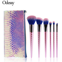 Wholesale pink diamond set resale online - Odessy Pink Diamond Handle Makeup Brushes Set Foundation Face Powder Eyeshadow Blush Contour Cosmetic Make Up Brush With Case