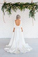 Wholesale Sabrina Neckline Wedding Dresses - Sabrina Neckline Satin Wedding Dress with U Back